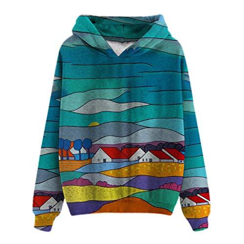 AIORNIY Damenpullover Langarm Sweatshirt Elegant Damen Tops Winter Drucken Oberteile Mit Kapuze Herbst Sexy Bluse Frauen(Mehrfarbig)
