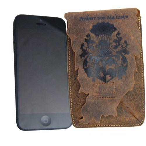 Freiherr von Maltzahn iPhone-Tasche, Coverhülle, Schutzhülle für Smartphone aus braunem Western-Leder
