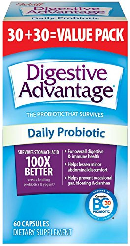 Digestive Advantage Daily Probiotic, 60 Capsules (Value Pack), for Digestive & Immune Health with No Preservatives & No Artificial Flavors