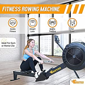 Gripped Rowing Machine for Home Gym, Foldable Rower, 10 Levels Air Resistance, LCD Display & Bluetooth Connectivity, Preset Workouts