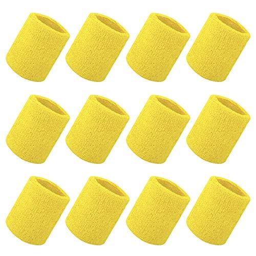 GOGO Bandeau de Poignet Sport 12 pièces 4 Pouces Éponge Yellow
