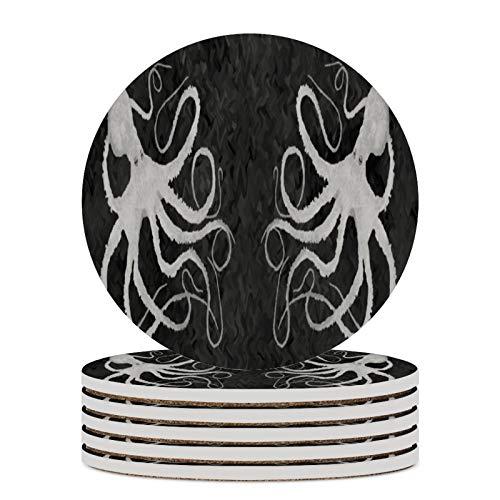 4 posavasos de cerámica de color gris oscuro para bebidas, resistentes al calor, para bebidas redondas, absorbentes, para amigos, hombres, mujeres, cumpleaños, inauguración de la casa