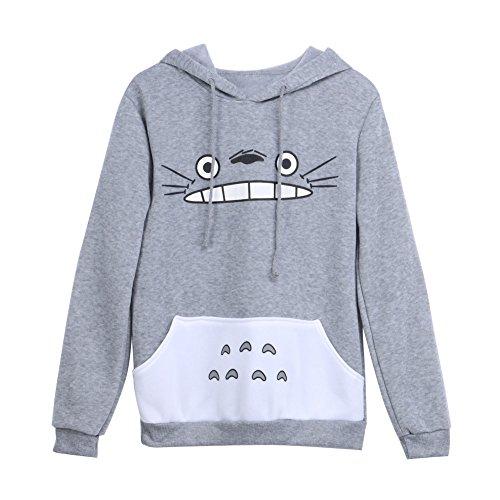 HiSummit Unisex Anime Kapuzenpullover Sweatshirt Hemd Meine Nachbar Totoro Lange Ärmel Vlies Mit Kapuze Sweatshirt (M)