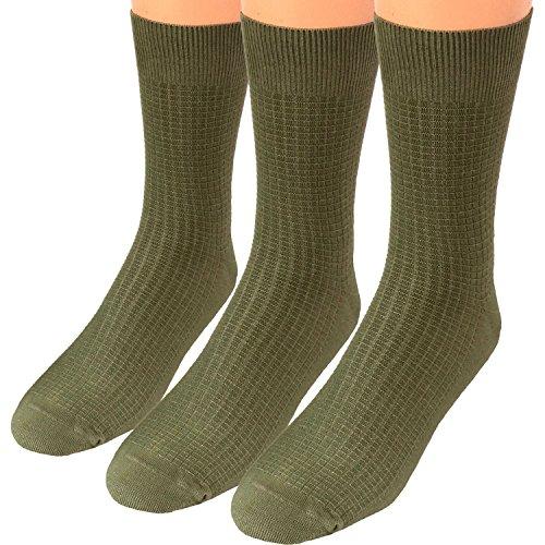 Shimasocks Herren Business Socken mit Waffelmuster 3er Pack, Größe:39/42, Farben alle:3x oliv