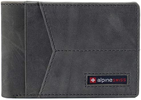 Alpine Swiss Delaney Men s RFID Blocking Slimfold Wallet Thin Bifold Cowhide Leather Comes in product image