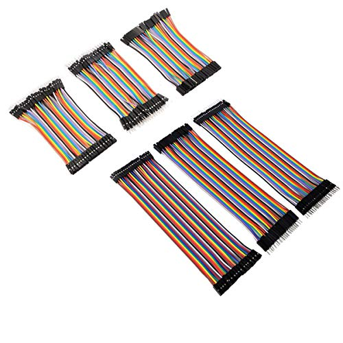 Antrader 240pcs Multicolored Jumper Wires 40pin Male to Female, 40pin Male to Male, 40pin Female to Female Robot Ribbon Cables Kit (10cm+20cm) for DIY Raspberry