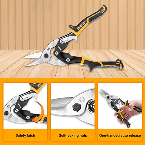 INGCO Aviation Snip Set Left Right Straight Cut Snips for Sheet Metal Cutting Pliers Nippers Snip with Comfortable Grips HTSNK0110