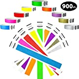 "Heavier Tyvek Wristbands 7.5 Mil- Goldistock Super Variety Pack 900 Ct. - ¾"" Arm Bands- Green, Blue, Red, Orange, Yellow, Pink, Purple, Gold & Silver- Paper-Like Party Armbands Wrist Bands for Events"