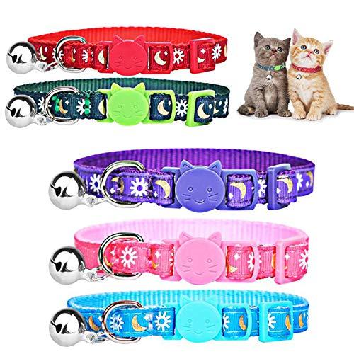 SHINROAD 5 Pack verstellbare Breakaway Cat Collars mit Glocke und Schnalle, Golden Moon Glowing Star im Dunkeln für Cat, Kitty