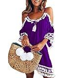 COZOCO Vestido sin Tirantes sin Mangas de la Playa del Verano de Las Mujeres Falda Corta de la Franja del Halter Falda Corta de la Playa del Verano de Las Mujeres(Púrpura,XXL)