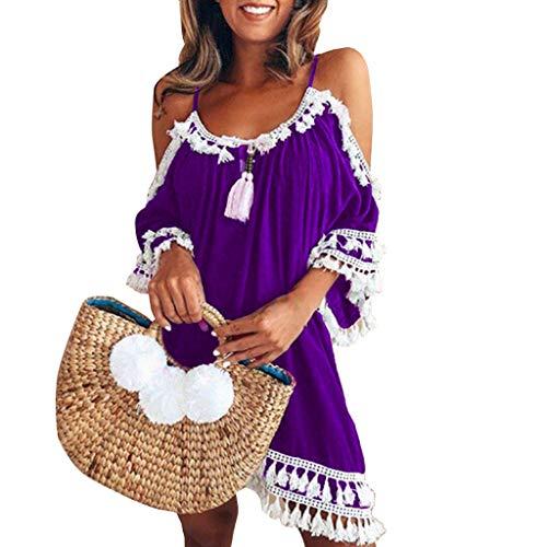 COZOCO Vestido sin Tirantes sin Mangas de la Playa del Verano de Las Mujeres Falda Corta de la Franja del Halter Falda Corta de la Playa del Verano de Las Mujeres