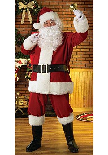 Geschenken 4 Alle gelegenheden Beperkte Traditionele Grote Deluxe Regal Pluche Mannen Claus Vader Kerstpak Fancy Jurk Kostuum met Santa Handschoenen, Boot Cover & Half Maan Bril, Rood/Wit