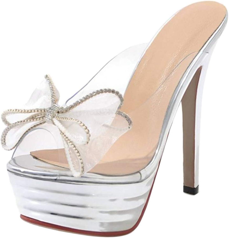 CularAcci Women Transparent Mules Sandals