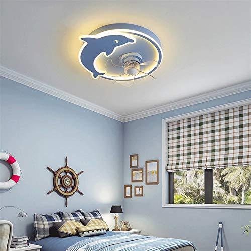 """Luz de ventilador de techo retro 20"""" Ventilador de techo con luces, ultra-delgado techo Dolphin luz ventilador con palas invisibles, sin pasos regulable con mando a distancia, velocidad 3, for la sala"""