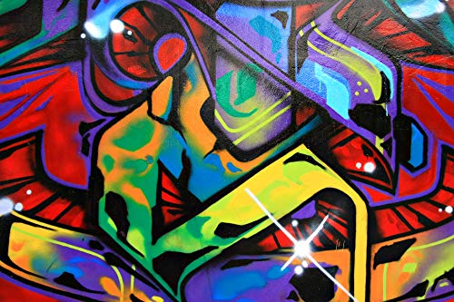 VLIES Fototapete-GRAFFITI-400x260 cm-8 Bahnen-(212513)-Inkl. Kleister-EASYINSTALL-PREMIUM-Street Art Steinwand Kunst Gemälde Malerei Bild Wand-Dekoration Moderne Motiv-Tapete Bild Panorama Poster XXL
