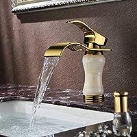 Gang-LL 水栓 キッチンブラシ蛇口バスルームのデッキマウント滝黄金の蛇口洗面化粧台船シンクミキサータップ冷温水タップ 台所用品
