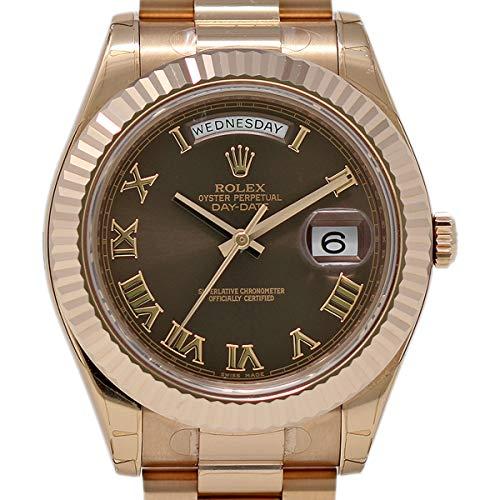Rolex New Day-Date II 218235 Rose Gold Chocolate Roman Box/Paper/Warranty #RL129