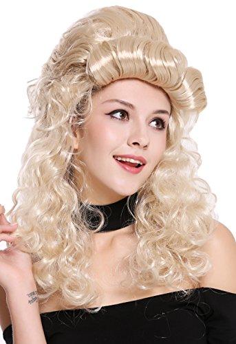 WIG ME UP- 90904-ZA83 Peluca Mujer Carnaval Halloween Barroco Renacimiento Colmena moño Largo rizos Rubio