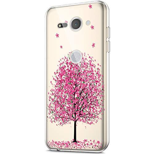 Compatible con la funda Sony Xperia XZ2 Compact, funda con diseño pintado artístico, transparente, de silicona TPU, funda transparente con diseño de cerezo rosa