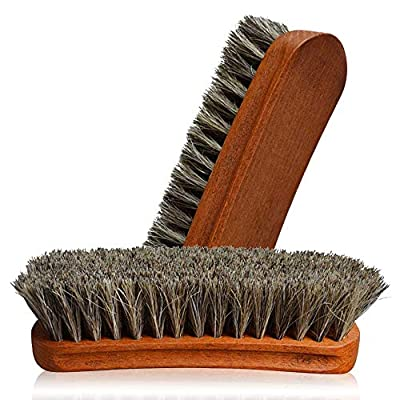 2PC Horsehair Shoe Brush, German Horse Hair Shoe Shine Brush , Detail Brush Set Automotive Suede Cleaning Brush For Boots, Convertible Polishing Cleaning For Leather Handbags Coats Pans Sofa Furniture