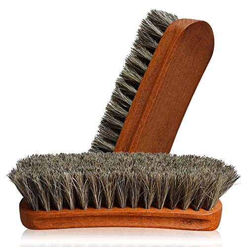 Price comparison product image 2PC Horsehair Shoe Brush,  German Horse Hair Shoe Shine Brush ,  Detail Brush Set Automotive Suede Cleaning Brush For Boots,  Convertible Polishing Cleaning For Leather Handbags Coats Pans Sofa Furniture
