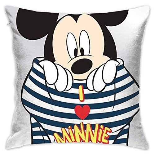 Gypsophila Pillow Cover Cushion Cover Mickey Mouse Love Minnie Decorative Pillow Case Sofa Seat Car Pillowcase Soft 18x18 Inch