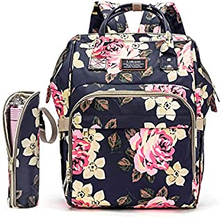 Diaper Bag Backpack Floral Baby Bag Water-Resistant Baby Nappy Bag with Insulated Water Bottle Bag/Changing Pad for Women/Girls/Mum (Flower Pattern)