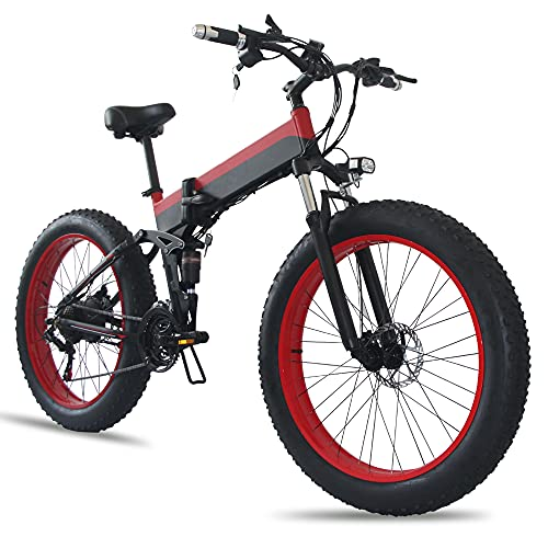 TGHY Bicicleta Eléctrica Plegable para Adultos Neumático Grueso de 26