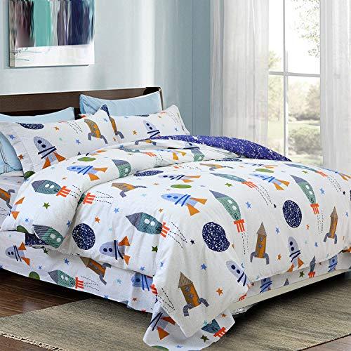 USTIDE 3-Piece Space Duvet Cover Set 100% Cotton Kids Bedding Set Blue Stars Children Quilt Cover Set Double