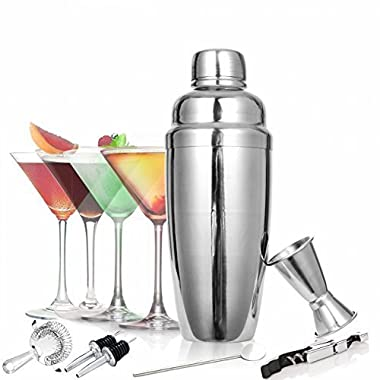 TOOGOU 8 Piece Cocktail Shaker Set - Bartender Kit Stainless Steel Martini Shaker and Strainer Jigger Shot Glass Cocktail Spoon - Bartending Supplies Bar Tools Barware and Bartender Gifts Set - Silver