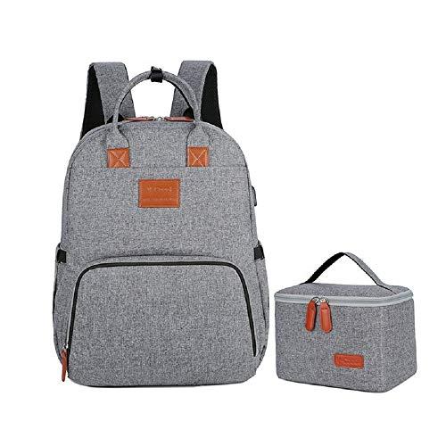 MYWILON - Mochila cambiador para bebé y mamá – Gran capacidad – Bolsa de pañales multifunción impermeable – Bolsa de viaje con compartimento para ordenador portátil (gris)
