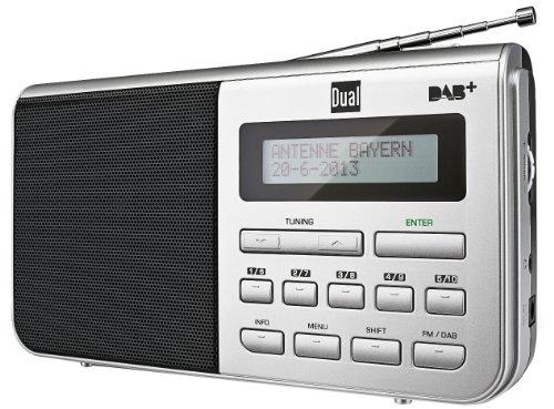 Digitalradio mit Kopfhöreranschluss, DAB+, LCD-Display, Sendersuchlauffunktion, Antenne, FM, Senderspeicher, Mechanischer Lautstärkeregler, Netz- und Batteriebetrieb, Silber, Dual DAB 4.1