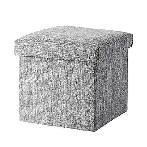WZNING Taburete de almacenamiento de lino y algodón, caja de almacenamiento, banco plegable para zapatos de porche, multifunción, para salón, taburete de sofá, capacidad de carga de 100 kg, capacidad de 15 l, 25 l, 50 l, 100 l, gris, 76 × 38 × 38cm