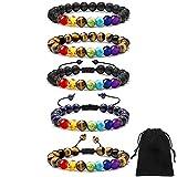 GOTONE 5 Piezas Pulseras de Piedras de Lava, Brazaletes con Abalorios de Chakra de 7 Colores para Hombres y Mujeres