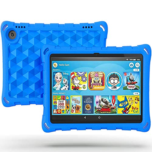 2020 All-New Amazon Kindle Fire HD 8 Tablet Cover and Fire HD 8 Plus Tablet Case (Compatible with 10th Generation Tablet,2020 Release),DJ&RPPQ Anti Slip Shockproof Light Weight Protective Covers,Blue