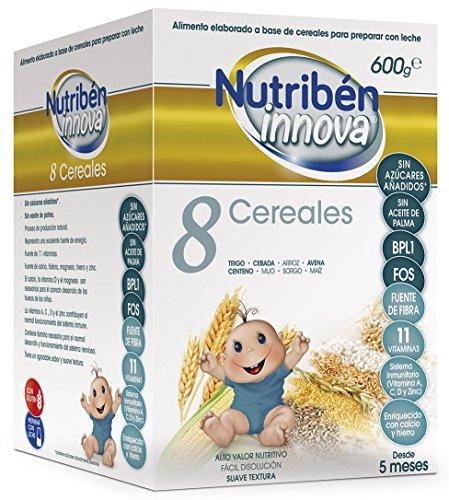 Nutribén Papillas Innova 8 Cereales, Sin aceite de Palma ni azucares añadidos- Alimento Para bebés- Desde Los 5 Meses- 1 unidad 600g