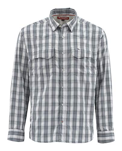 Price comparison product image Simms Big Sky Plaid Vented Fishing Shirt Men Long Sleeve 50+ UPF Shirt Lightweight & Breathable,  Moisture Wicking,  Storm Plaid,  Large