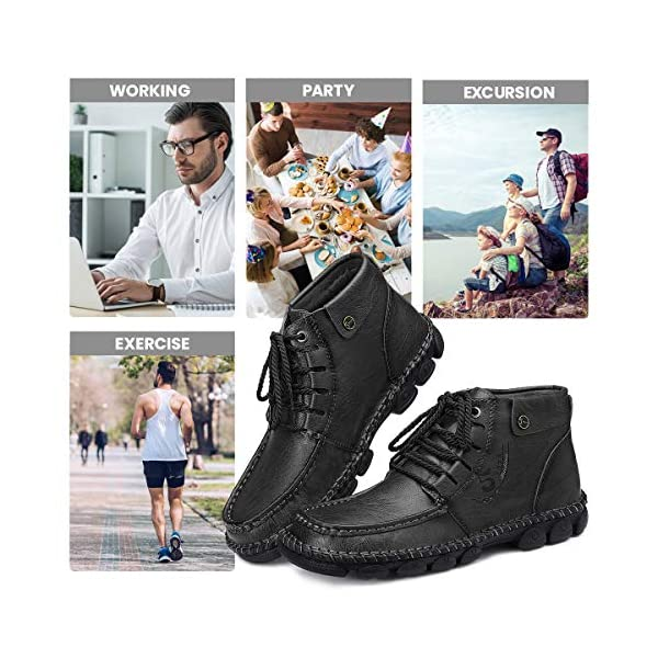 gracosy Mens Casual Shoes, Mens Hand Stitching Shoes Leather Ankle Boots Breathable Shoes Lace-up Oxford Shoes Handwork Warm Boots Handmade Flats