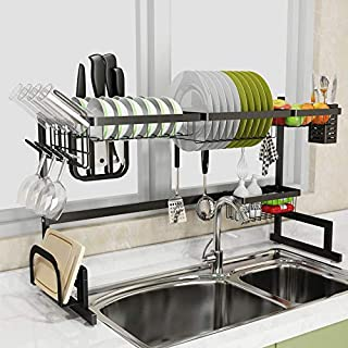 Dish Drying Rack Over The Sink Adjustable, Expandable Width (33``>size<41.3``) Dish Drying Rack for Kitchen Storage Counte...