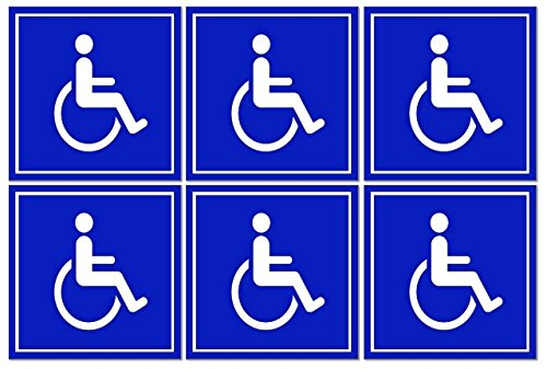 6 Pack of Disabled/Wheelchair Symbol ADA Compliant Handicap Access 3 X 3 Inch Blue Stickers 3M Vinyl Decals