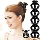 RC ROCHE ORNAMENT 6 Pcs Womens Pumpkin Hair Secure No Slip Grip Claw Clips Styling Plastic Strong Durable Comfortable Hold Premium Quality Beauty Accessory Girls, Large Black