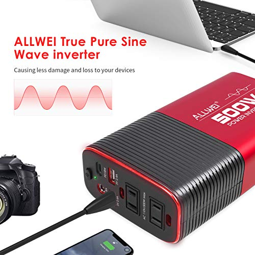500W Pure Sine Wave Power Inverter DC 12V to AC 110V Car Inverter Power Adapter Converter with Type C PD18W/12V DC Output/4.8A Dual USB Charging Ports and 2 AC Outlets Car Charger