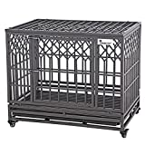 """SMONTER 38"""" Heavy Duty Dog Crate Strong Metal Pet Kennel Playpen with Two Prevent Escape Lock, Large Dogs Cage with Wheels, Y Shape, Dark Silver … …"""