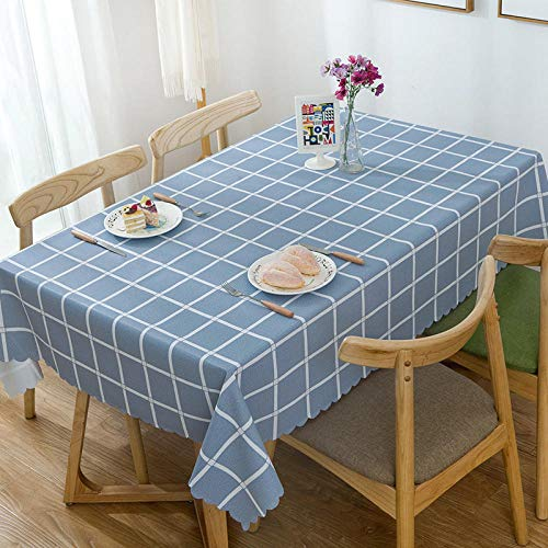 XIAOBAO Tablecloth,PVC checkered waterproof tablecloth, printed oil-proof hotel tablecloth-blue_90*90cm,Wipe Clean Tablecloth