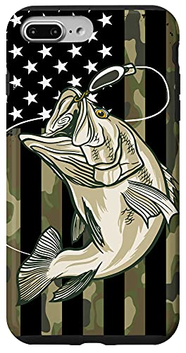 iPhone 7 Plus/8 Plus Fishing Camouflage US American Flag Bass Fish Fisherman Camo Case