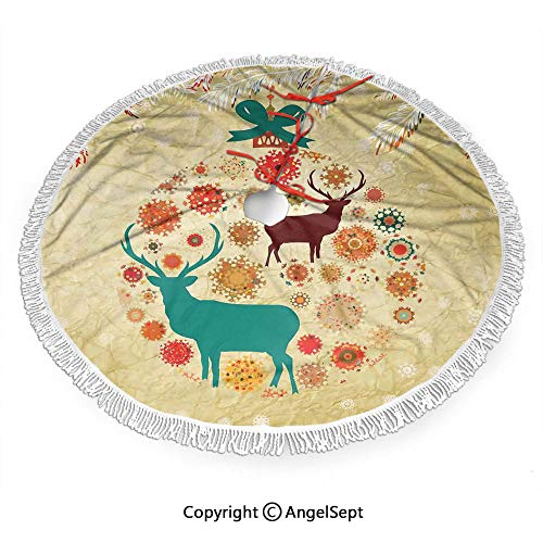 36 inch Christmas Tree Skirt Reindeer and Snowflakes in Abstract Balls Ornament Vintage Paper Art Image,Print with White Fringed Lace,New Year Festive Holiday Party Decoration