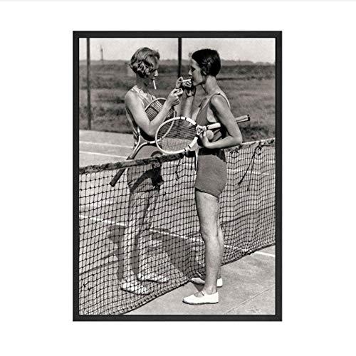 Zhaoyangeng Vintage Tennis Canvas Vrouwen Roken Sigaretten Print Spelers Roken Gift Zwart en Wit Koele muur Decor Poster Print- 50X70Cm/Unframed