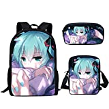 Mochila de anime Hatsune Miku + bolsa cruzada+estuche de tres piezas para estudiantes, anime escolar, combinación, adolescentes y niñas, mochila casual