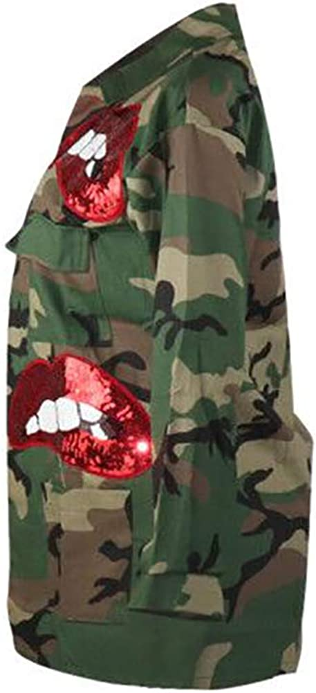 Women's Plus Size Casual Camo Jacket Sequin Lip Print Button Down Shirt Blouse Top with Multi Pockets