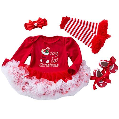Ketamyy Baby Mädchen Weihnachten Tütü Kleidung Drucken Neugeborene Strampler Langarm Kleid+Stirnband+Beinwärmer+Schuhe Herbst Kinder Und Kleinkind 4PCS Set Weihnachtsanzug Socke 80(12-24 M)